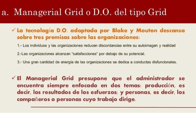 a. Managerial Grid o D.O. del tipo Grid  La tecnología D.O. adoptada por Blake y Mouton descansa sobre tres premisas sobr...
