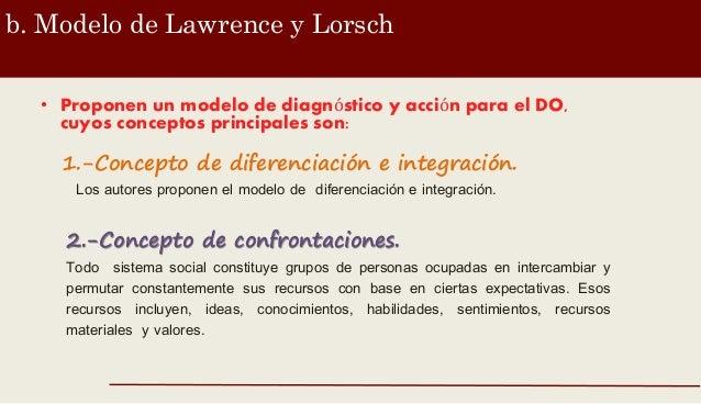 b. Modelo de Lawrence y Lorsch • Proponen un modelo de diagnóstico y acción para el DO, cuyos conceptos principales son: 1...