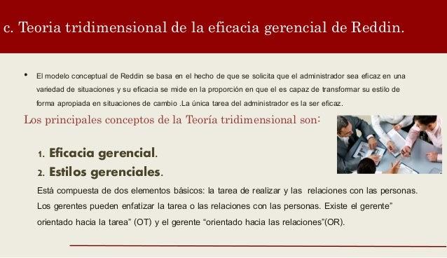 c. Teoria tridimensional de la eficacia gerencial de Reddin. • El modelo conceptual de Reddin se basa en el hecho de que s...