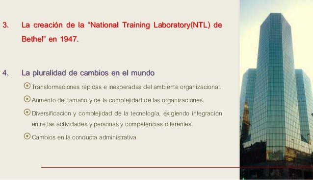 """3. La creación de la """"National Training Laboratory(NTL) de Bethel"""" en 1947. 4. La pluralidad de cambios en el mundo Trans..."""