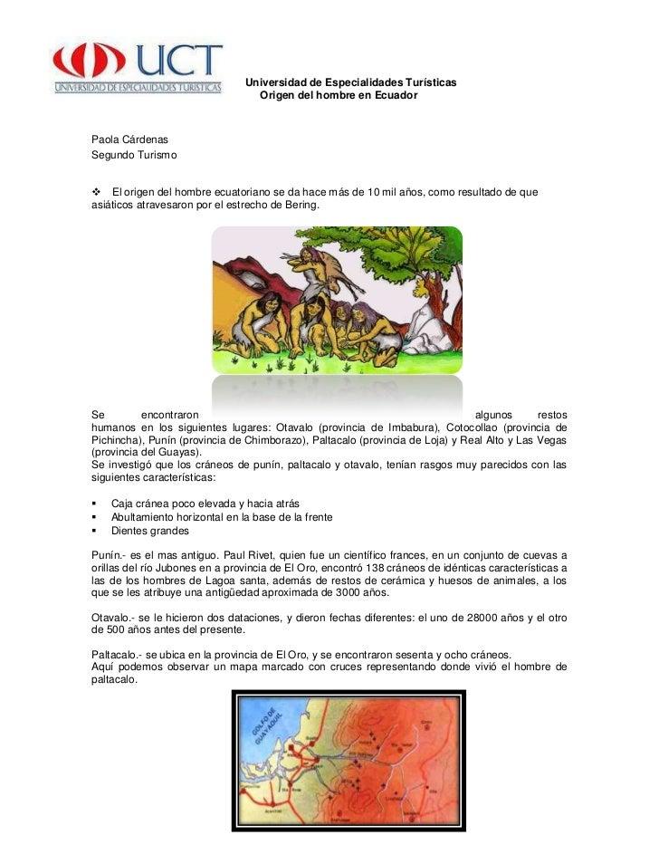 -503555-471170   Universidad de Especialidades Turísticas<br />        Origen del hombre en Ecuador<br />Paola Cárdenas <b...
