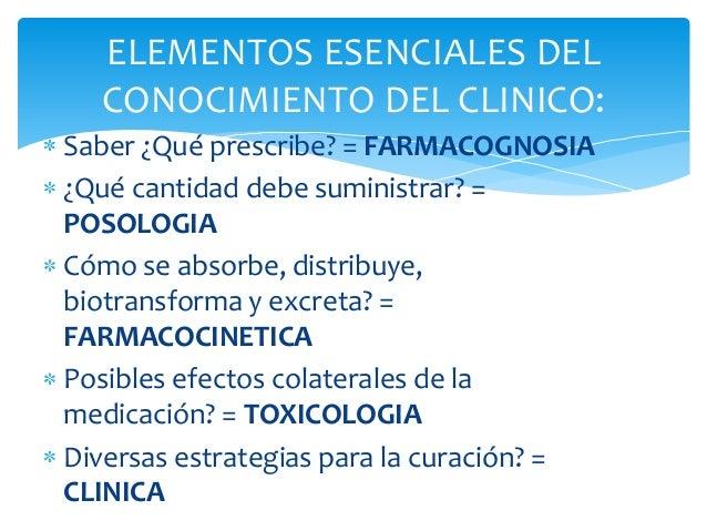 ELEMENTOS ESENCIALES DELCONOCIMIENTO DEL CLINICO:Saber ¿Qué prescribe? = FARMACOGNOSIA¿Qué cantidad debe suministrar? =POS...