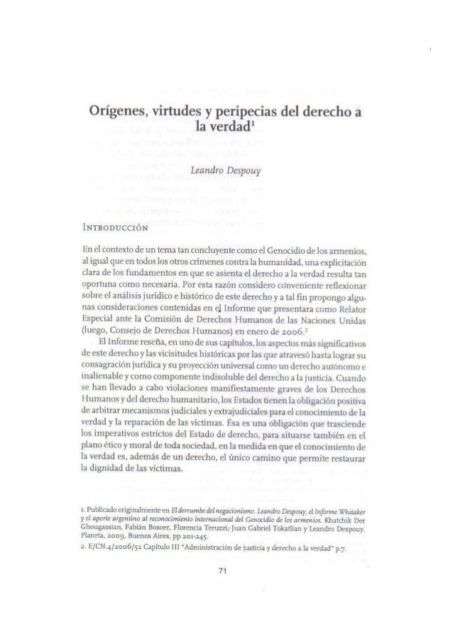 Orígenes, virtudes y peripecias del derecho a la verdad