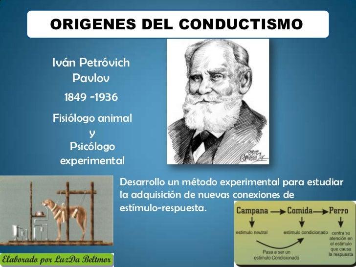 ORIGENES DEL CONDUCTISMOIván Petróvich    Pavlov  1849 -1936Fisiólogo animal        y    Psicólogo experimental           ...