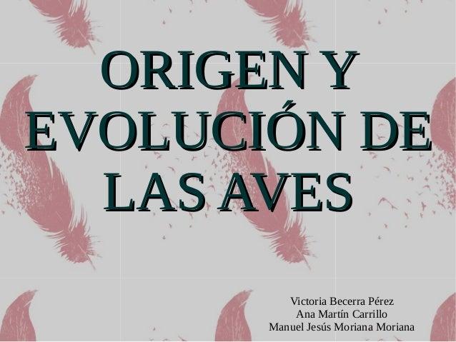 ORIGEN YORIGEN Y EVOLUCIÓN DEEVOLUCIÓN DE LAS AVESLAS AVES Victoria Becerra Pérez Ana Martín Carrillo Manuel Jesús Moriana...