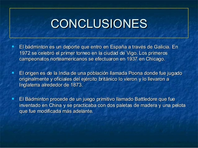 conclusion of badminton in english