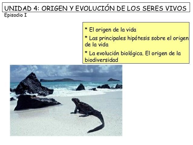 UNIDAD 4: ORIGEN Y EVOLUCIÓN DE LOS SERES VIVOS Episodio I * El origen de la vida * Las principales hipótesis sobre el ori...