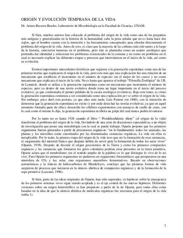 ORIGEN Y EVOLUCIÓN TEMPRANA DE LA VIDADr. Arturo Becerra Bracho, Laboratorio de Microbiología en la Facultad de Ciencias, ...
