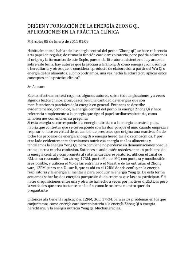 ORIGEN Y FORMACIÓN DE LA ENERGÍA ZHONG QI. APLICACIONES EN LA PRÁCTICA CLÍNICA Miércoles 05 de Enero de 2011 01:09 Habitua...
