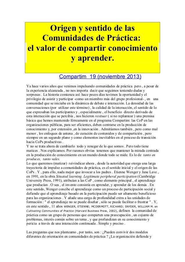Origen y sentido de las Comunidades de Práctica: el valor de compartir conocimiento y aprender. Compartim 19 (noviembre 20...