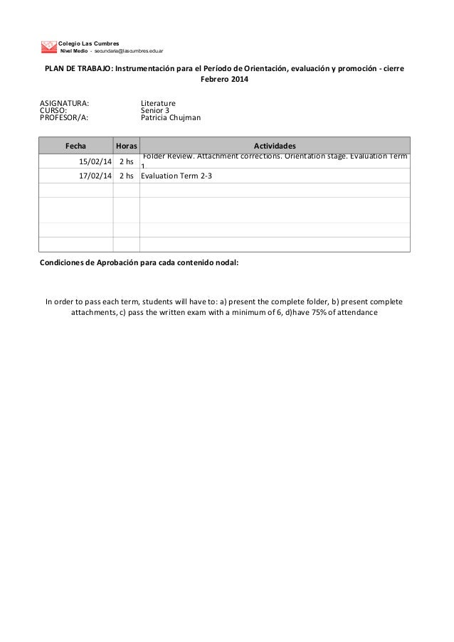 Colegio Las Cumbres Nivel Medio - secundaria@lascumbres.edu.ar  PLAN DE TRABAJO: Instrumentación para el Período de Orient...