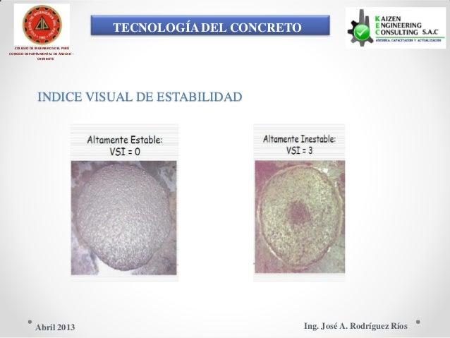 TECNOLOGÍA DEL CONCRETO COLEGIO DE INGENIEROS DEL PERÚ CONSEJO DEPARTAMENTAL DE ANCASH - CHIMBOTE INDICE VISUAL DE ESTABIL...