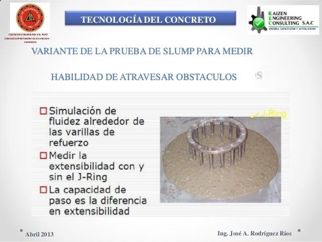 TECNOLOGÍA DEL CONCRETO COLEGIO DE INGENIEROS DEL PERÚ CONSEJO DEPARTAMENTAL DE ANCASH - CHIMBOTE VARIANTE DE LA PRUEBA DE...