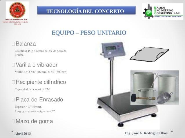 TECNOLOGÍA DEL CONCRETO COLEGIO DE INGENIEROS DEL PERÚ CONSEJO DEPARTAMENTAL DE ANCASH - CHIMBOTE EQUIPO – PESO UNITARIO ...