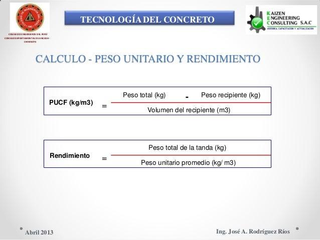 TECNOLOGÍA DEL CONCRETO COLEGIO DE INGENIEROS DEL PERÚ CONSEJO DEPARTAMENTAL DE ANCASH - CHIMBOTE CALCULO - PESO UNITARIO ...