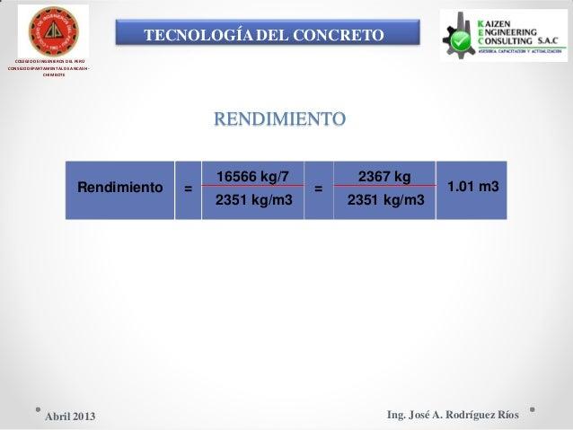 TECNOLOGÍA DEL CONCRETO COLEGIO DE INGENIEROS DEL PERÚ CONSEJO DEPARTAMENTAL DE ANCASH - CHIMBOTE RENDIMIENTO 16566 kg/7 2...