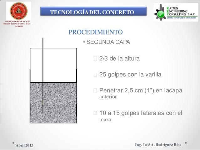 TECNOLOGÍA DEL CONCRETO COLEGIO DE INGENIEROS DEL PERÚ CONSEJO DEPARTAMENTAL DE ANCASH - CHIMBOTE PROCEDIMIENTO • SEGUNDA ...