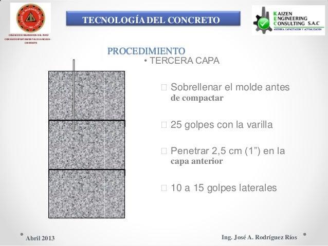 TECNOLOGÍA DEL CONCRETO COLEGIO DE INGENIEROS DEL PERÚ CONSEJO DEPARTAMENTAL DE ANCASH - CHIMBOTE PROCEDIMIENTO • TERCERA ...