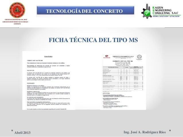 TECNOLOGÍA DEL CONCRETO COLEGIO DE INGENIEROS DEL PERÚ CONSEJO DEPARTAMENTAL DE ANCASH - CHIMBOTE FICHA TÉCNICA DEL TIPO M...