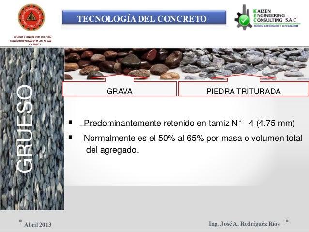 TECNOLOGÍA DEL CONCRETO COLEGIO DE INGENIEROS DEL PERÚ CONSEJO DEPARTAMENTAL DE ANCASH - CHIMBOTE GRUESO GRAVA PIEDRA TRIT...