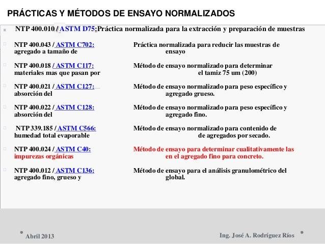 PRÁCTICAS Y MÉTODOS DE ENSAYO NORMALIZADOS  NTP 400.010 / ASTM D75:Práctica normalizada para la extracción y preparación ...