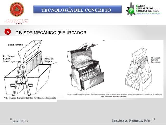 TECNOLOGÍA DEL CONCRETO COLEGIO DE INGENIEROS DEL PERÚ CONSEJO DEPARTAMENTAL DE ANCASH - CHIMBOTE A DIVISOR MECÁNICO (BIFU...