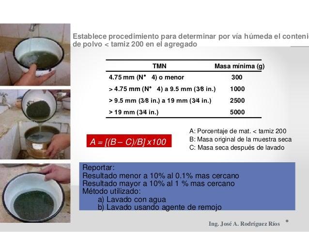 Establece procedimiento para determinar por vía húmeda el contenid de polvo < tamiz 200 en el agregado TMN Masa mínima (g)...