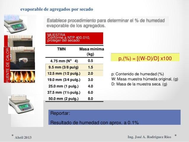 FUENTEDECALOR evaporable de agregados por secado Establece procedimiento para determinar el % de humedad evaporable de los...