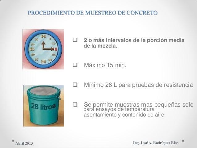 PROCEDIMIENTO DE MUESTREO DE CONCRETO  2 o más intervalos de la porción media de la mezcla.  Máximo 15 min.  Mínimo 28 ...