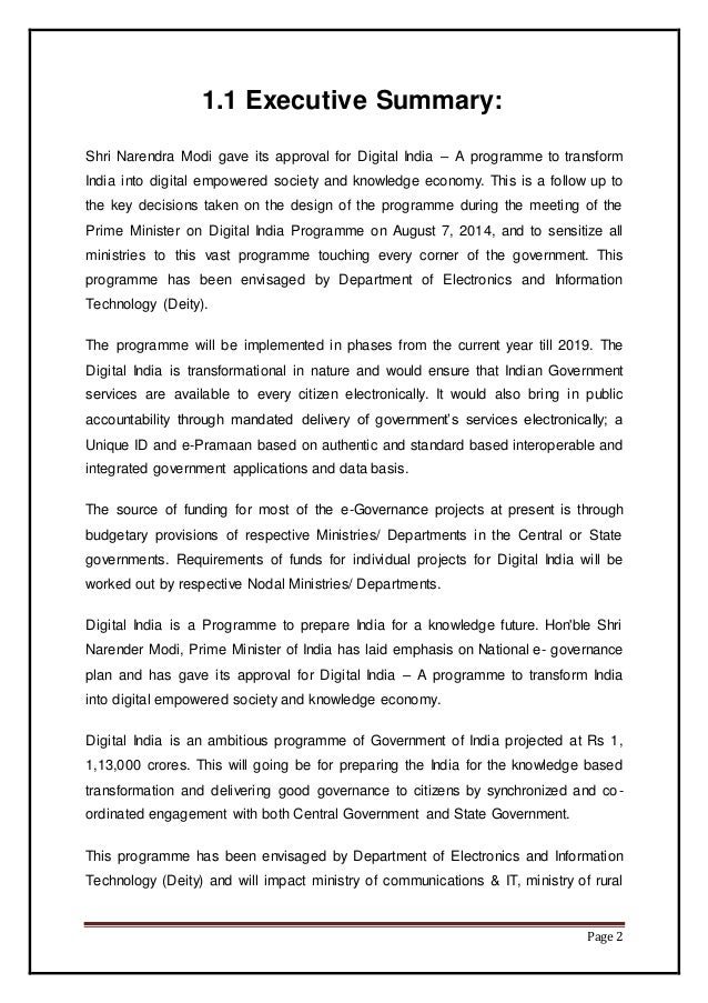 Black Book Project Report On Digital India