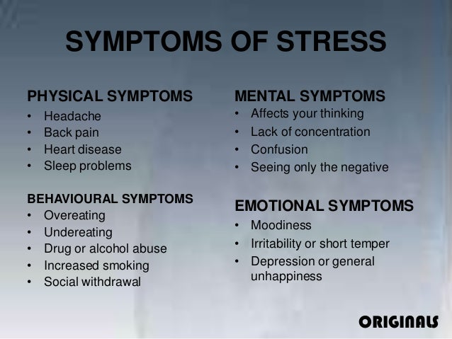 a summary on stress management The importance of stress management stress today can be described as that which disturbs a person's mental and physical well-being (morrison 1) common symptoms of stress include chronic fatigue, changes in appetite, drug and/or alcohol abuse, difficulty sleeping, body aches, and changes in emotions (cooper 1-2).