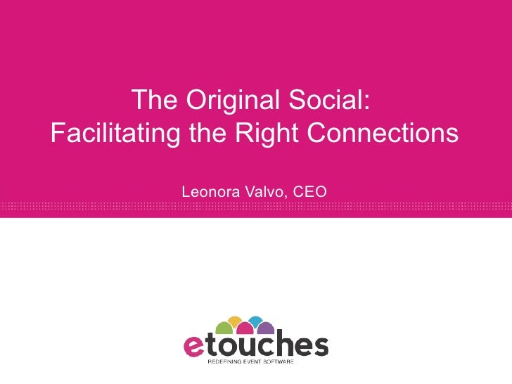 The Original Social:  Facilitating the Right Connections Leonora Valvo, CEO