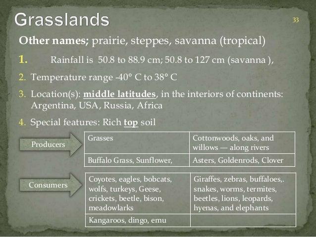 Other names; prairie, steppes, savanna (tropical)  1. Rainfall is 50.8 to 88.9 cm; 50.8 to 127 cm (savanna ),  2. Temperat...