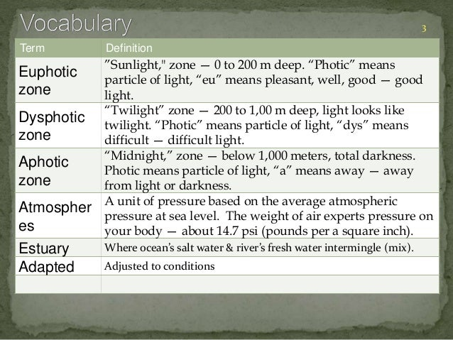 """Term Definition  Euphotic  zone  """"Sunlight,"""" zone — 0 to 200 m deep. """"Photic"""" means  particle of light, """"eu"""" means pleasan..."""