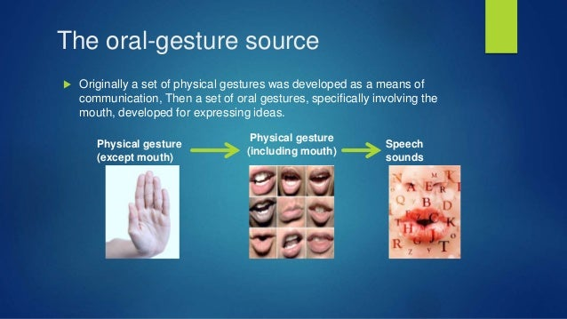 The oral-gesture source  Originally a set of physical gestures was developed as a means of communication, Then a set of o...
