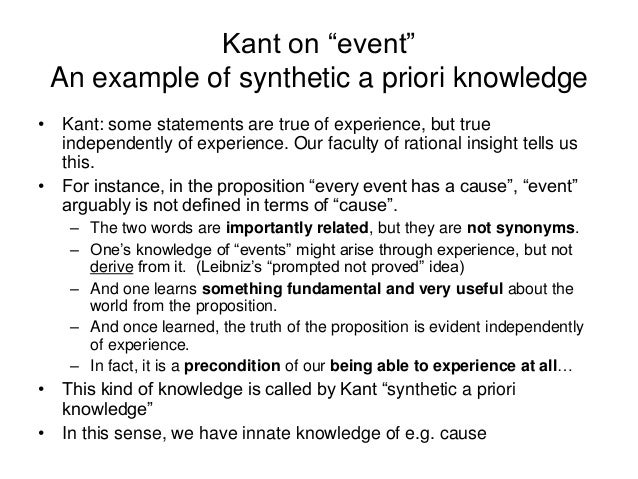 an analysis of the synthetic a priori propositions For kant, the analytic/synthetic distinction and the a priori/a posteriori  subject of  a particular sum (eg '7+5') to its predicate ('12') meaning, for kant,  synthetic a  priori propositions are possible this was the foundation upon.