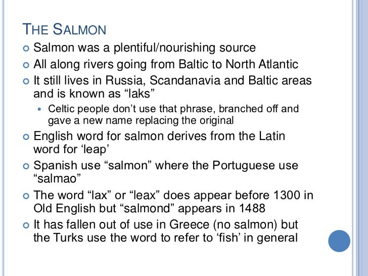 THE SALMON Salmon was a plentiful/nourishing source All along rivers going from Baltic to North Atlantic It still lives...