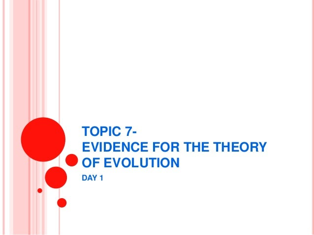 TOPIC 7- EVIDENCE FOR THE THEORY OF EVOLUTION DAY 1