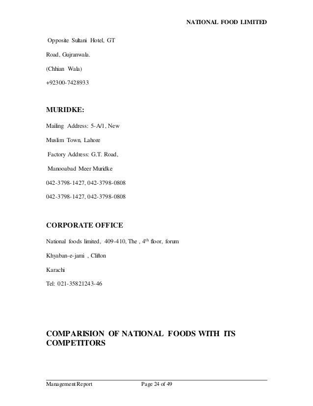 NATIONAL FOODS (Mangement Report)