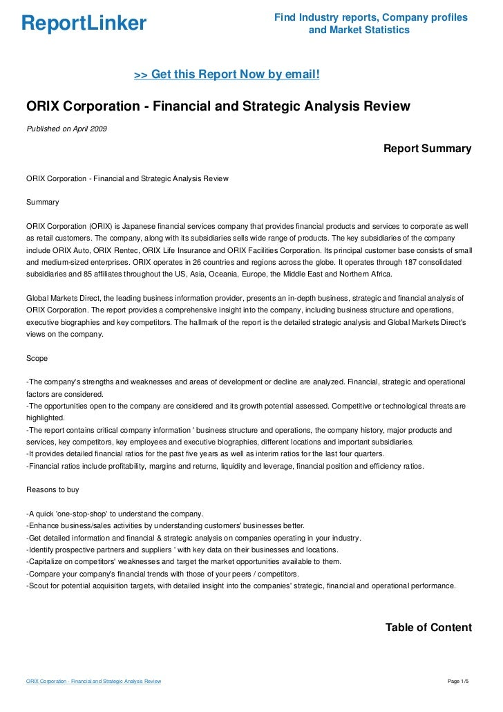 ORIX Corporation - Financial and Strategic Analysis Review