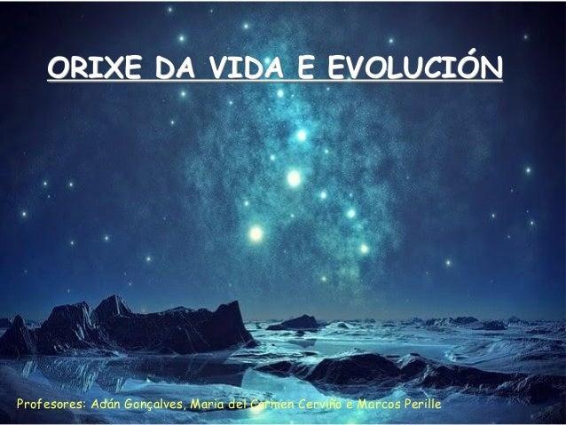 ORIXE DA VIDA E EVOLUCIÓN Profesores: Adán Gonçalves, Maria del Carmen Cerviño e Marcos Perille