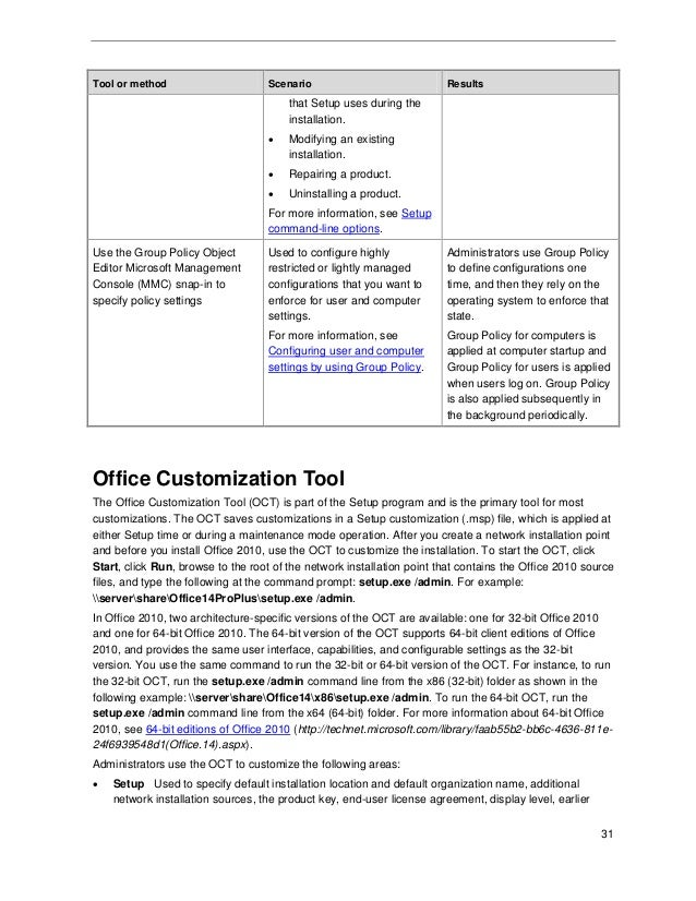 Deployment guide for Microsoft Office 2010 for IT professionals