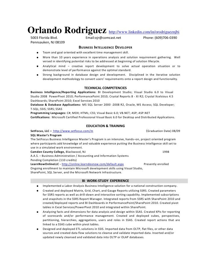 bi developer resume orlando rodriguez httpwwwlinkedincominorodrigueznjbi 5003 - Sql Developer Resume Sample