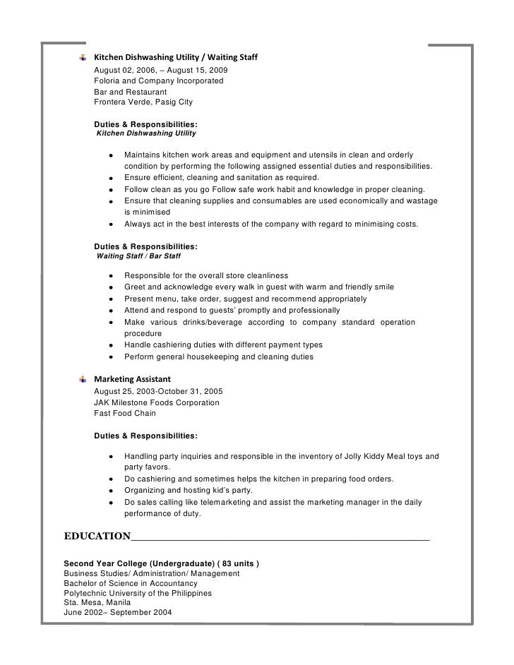 Wait Staff Resume – ZYK8