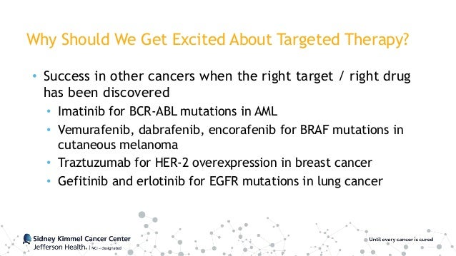 Why Should We Get Excited About Targeted Therapy? • Success in other cancers when the right target / right drug has been d...