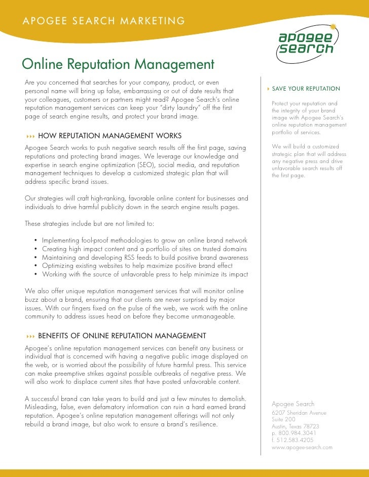 APOGEE SEARCH MARKETING    Online Reputation Management Are you concerned that searches for your company, product, or even...