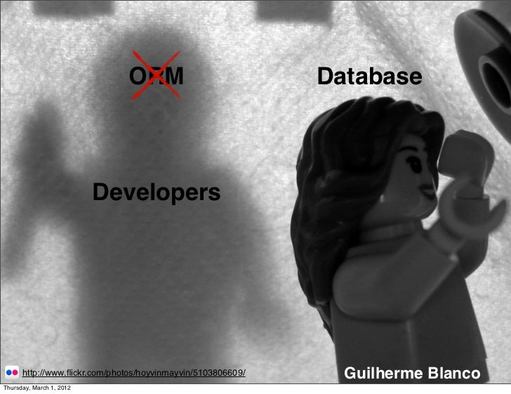 ORM                            Database                          Developers      http://www.flickr.com/photos/hoyvinmayvin/...