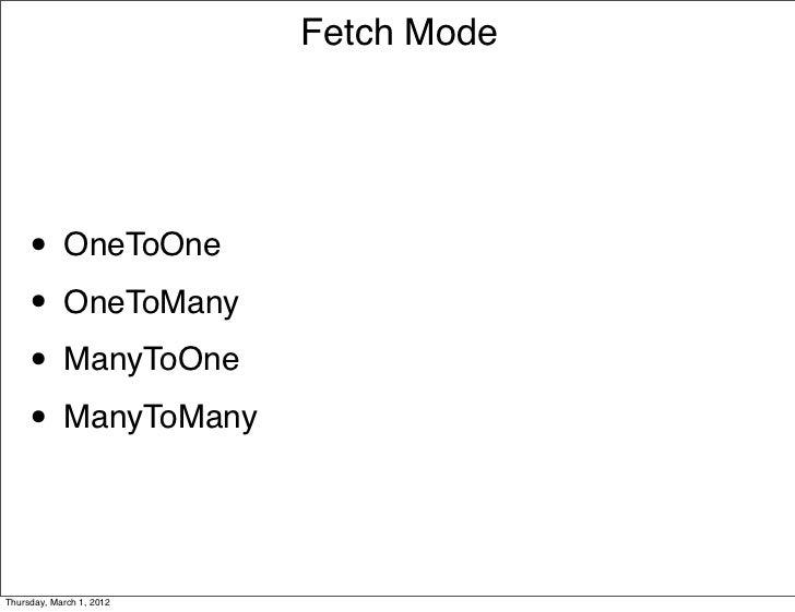 Fetch Mode     • OneToOne     • OneToMany     • ManyToOne     • ManyToManyThursday, March 1, 2012