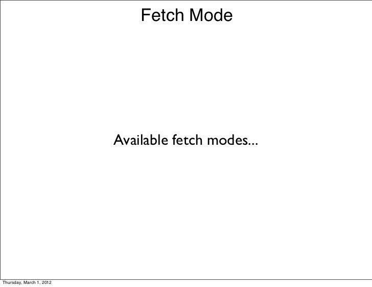 Fetch Mode                          Available fetch modes...Thursday, March 1, 2012