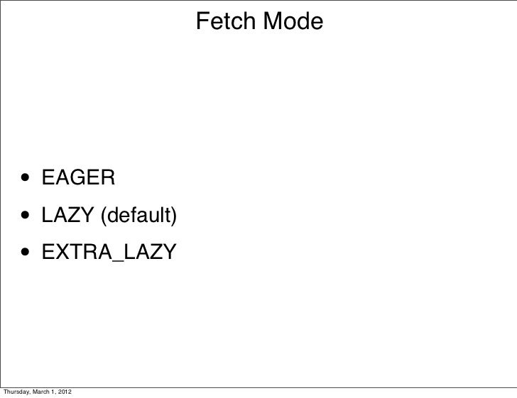 Fetch Mode     • EAGER     • LAZY (default)     • EXTRA_LAZYThursday, March 1, 2012